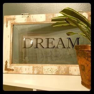 "NEW: ""Dream"" Glass & Wood Panel, Home Accent"